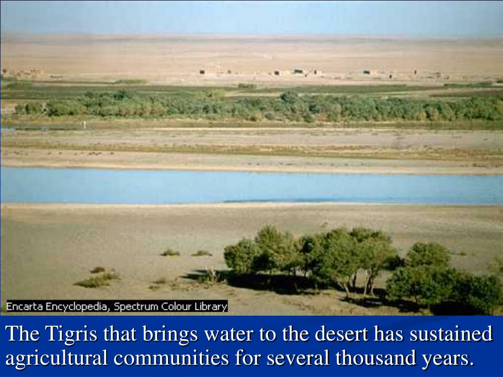 The Tigris that brings water to the desert has sustained agricultural communities for several thousand years.