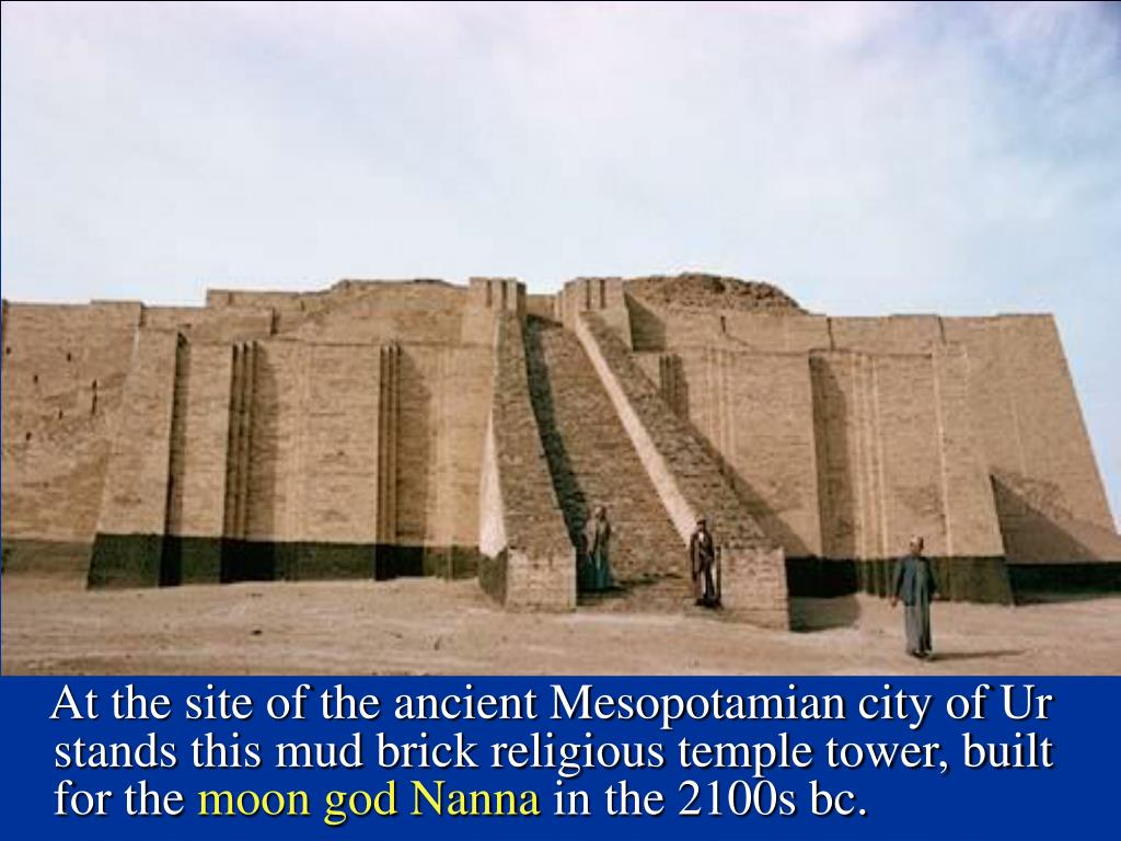 At the site of the ancient Mesopotamian city of Ur stands this mud brick religious temple tower, built for the