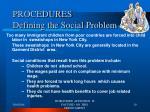 procedures defining the social problem