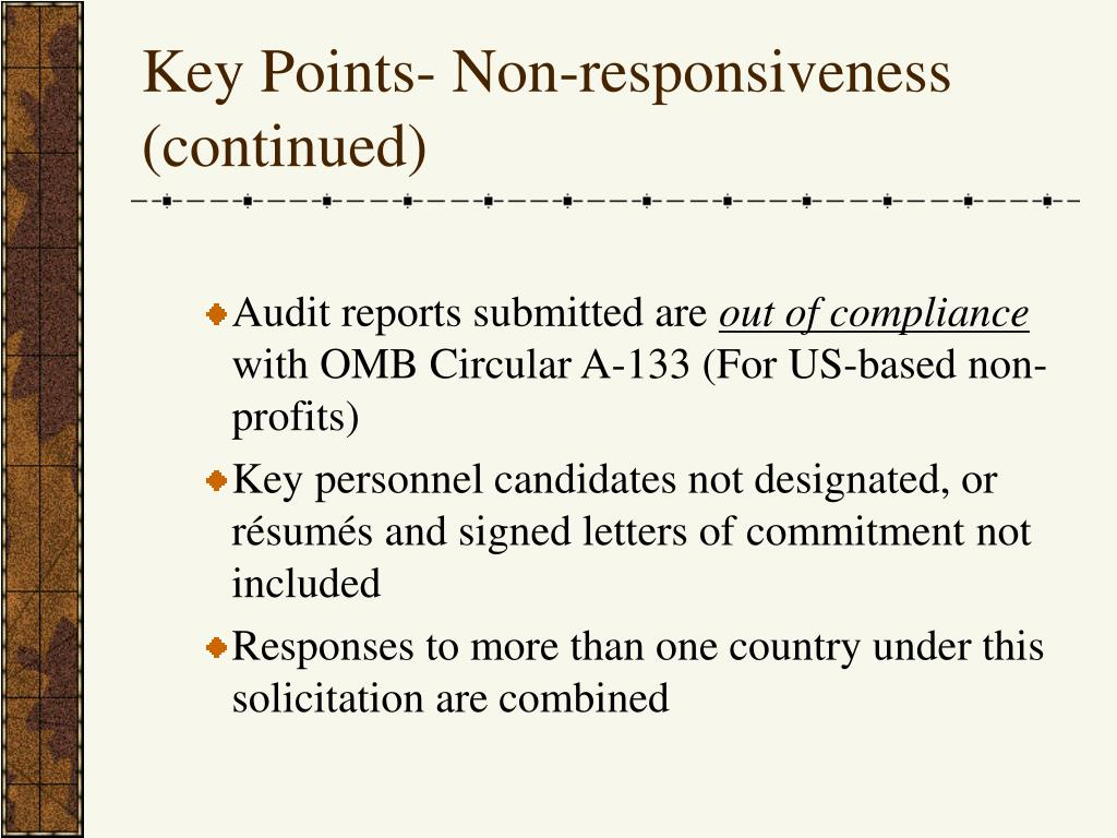 Key Points- Non-responsiveness (continued)