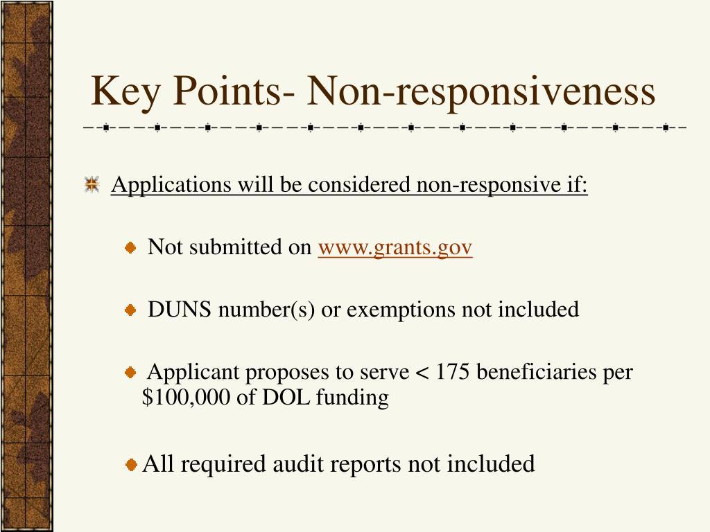Key Points- Non-responsiveness