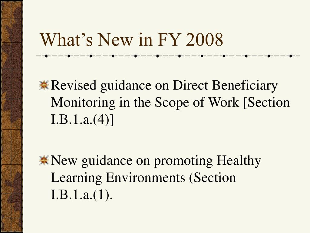 What's New in FY 2008