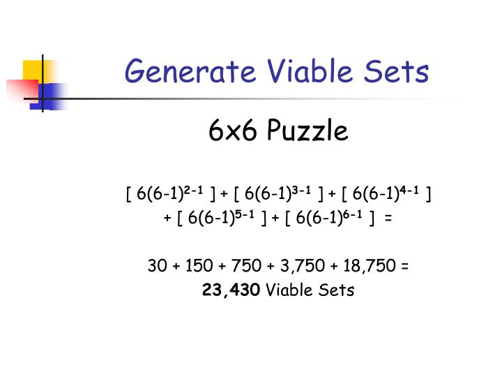Generate Viable Sets