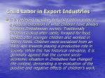child labor in export industries
