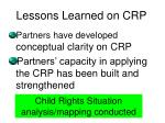 lessons learned on crp