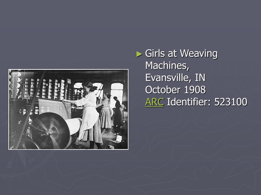 Girls at Weaving Machines, Evansville, IN