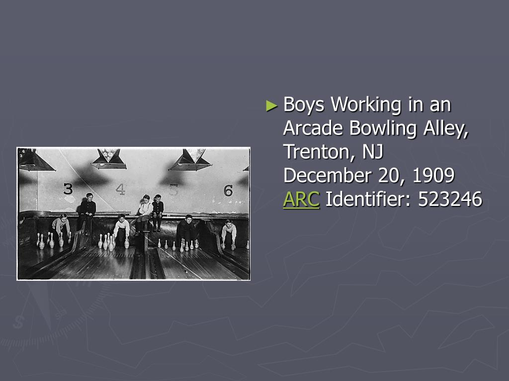 Boys Working in an Arcade Bowling Alley, Trenton, NJ