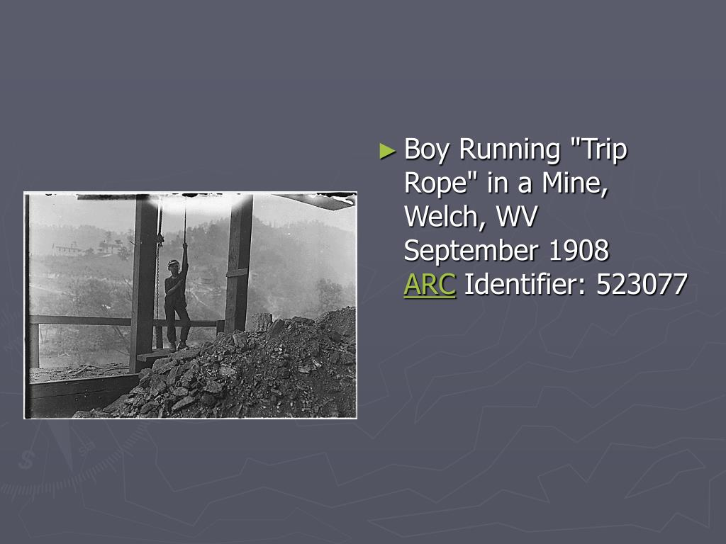 "Boy Running ""Trip Rope"" in a Mine, Welch, WV"
