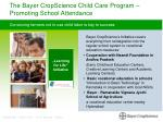 the bayer cropscience child care program promoting school attendance