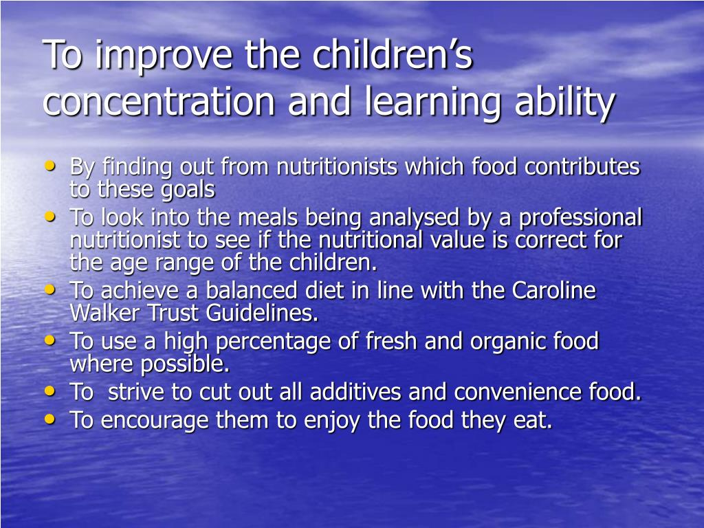 To improve the children's concentration and learning ability