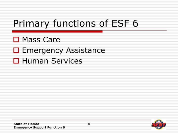 Primary functions of ESF 6