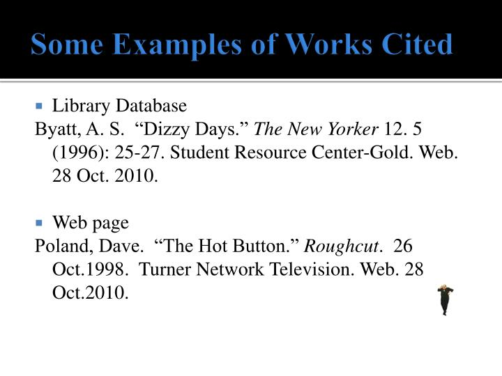 Some examples of works cited