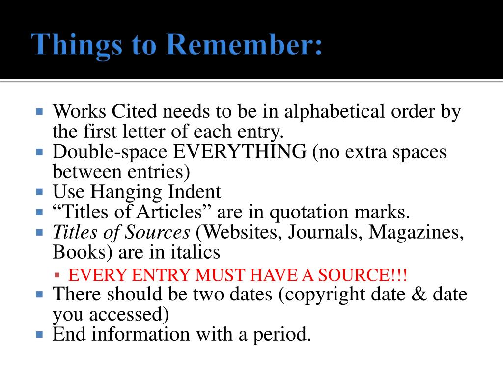 Things to Remember: