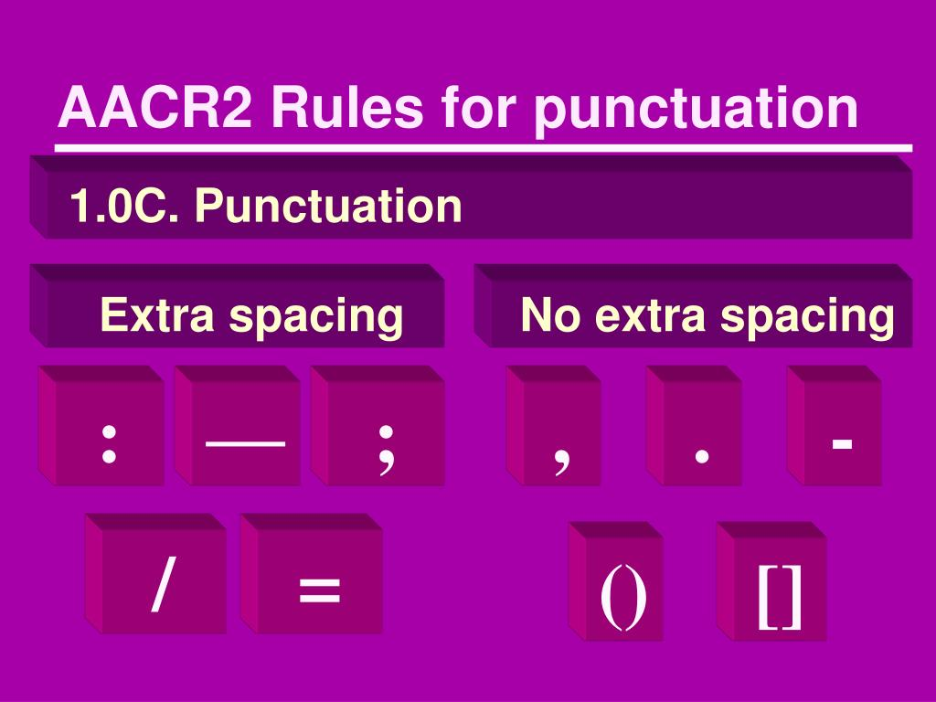 AACR2 Rules for punctuation