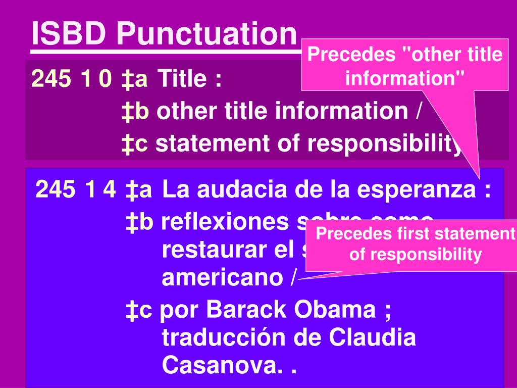 ISBD Punctuation