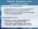 statutes regulations and secondary sources