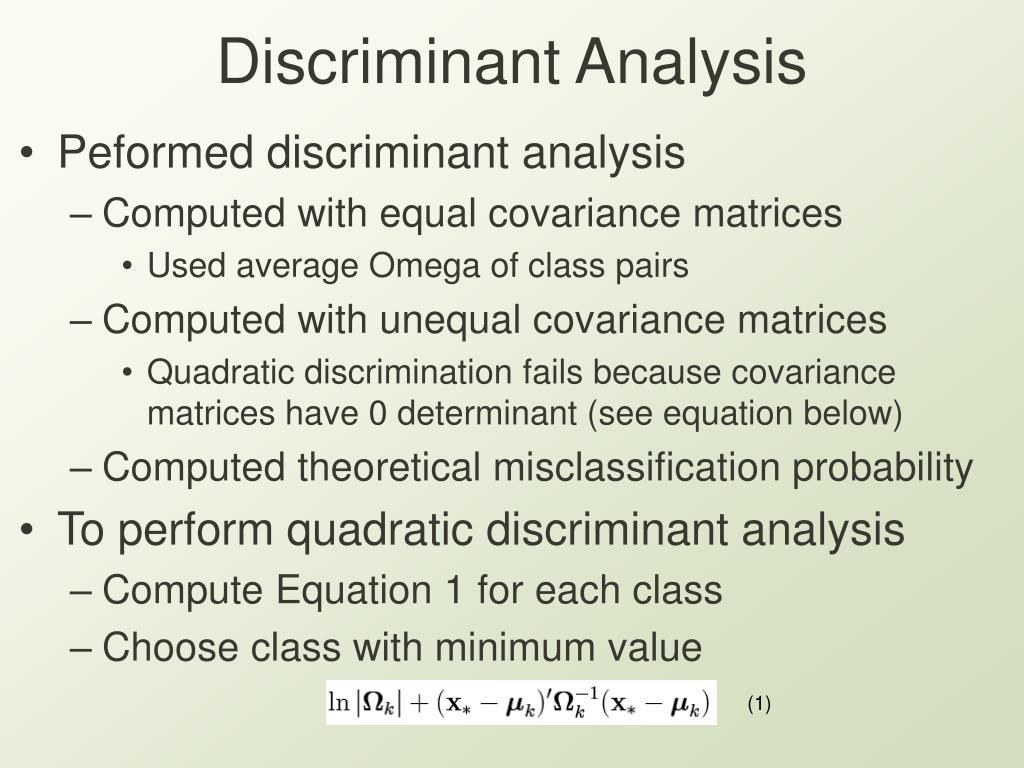 Discriminant Analysis