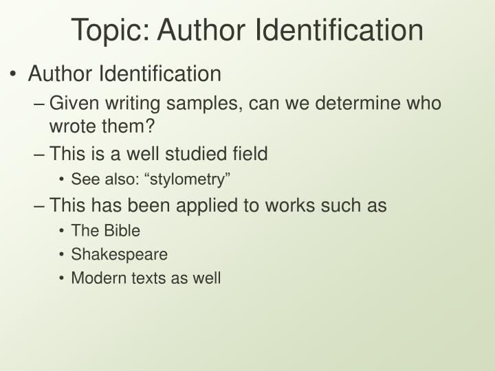 Topic author identification