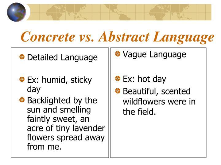 Concrete vs abstract language