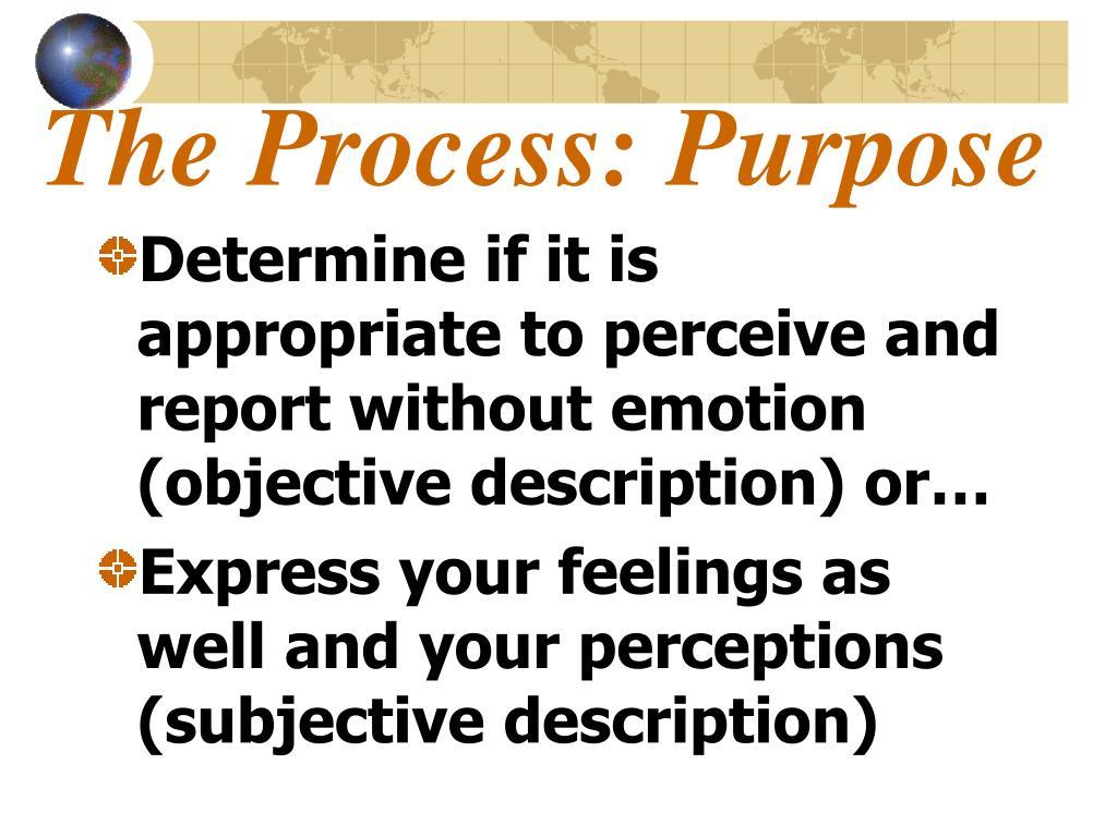 The Process: Purpose