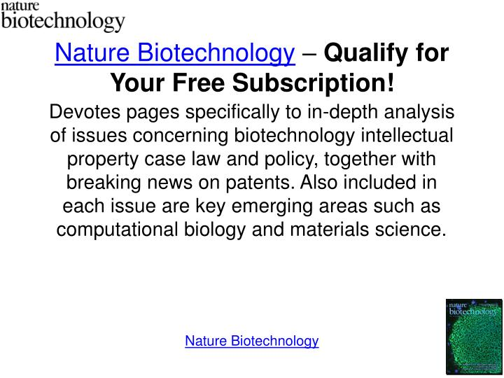 Nature biotechnology qualify for your free subscription