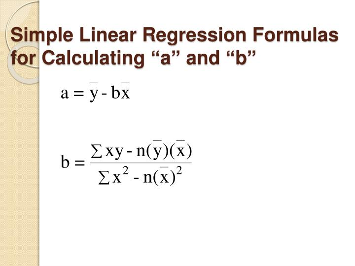 """Simple Linear Regression Formulas for Calculating """"a"""" and """"b"""""""