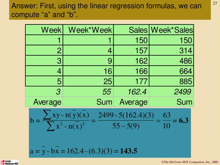 """Answer: First, using the linear regression formulas, we can compute """"a"""" and """"b""""."""