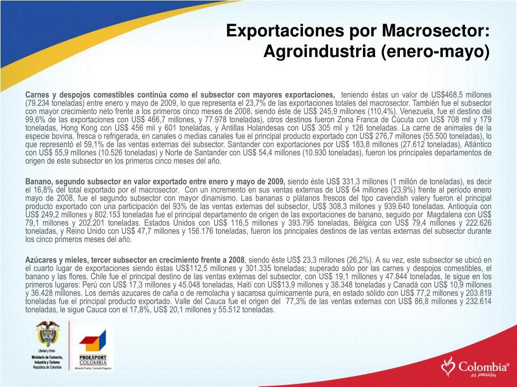 Exportaciones por Macrosector: Agroindustria (enero-mayo)
