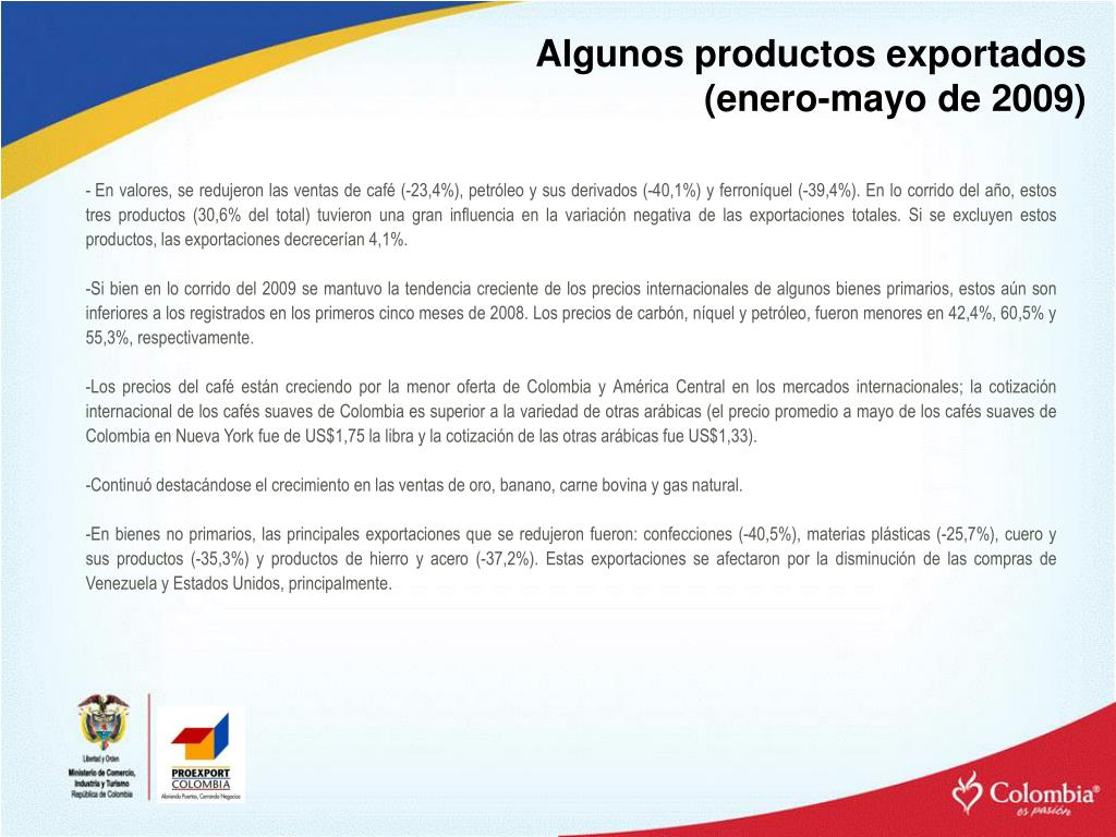 Algunos productos exportados