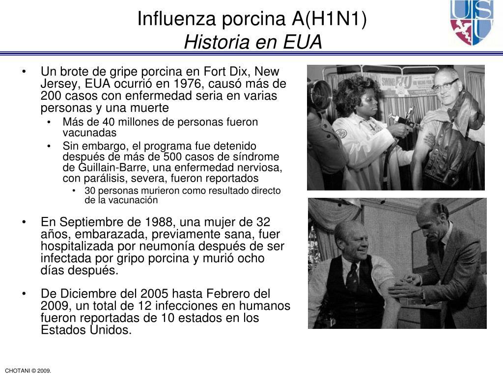 Un brote de gripe porcina en Fort Dix, New Jersey, EUA ocurrió en 1976, causó más de 200 casos con enfermedad seria en varias personas y una muerte