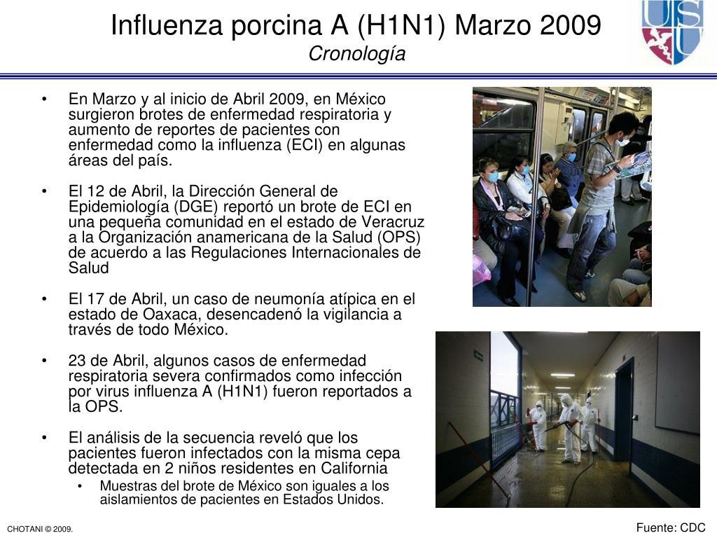 En Marzo y al inicio de Abril 2009, en México surgieron brotes de enfermedad respiratoria y aumento de reportes de pacientes con enfermedad como la influenza (ECI) en algunas áreas del país.