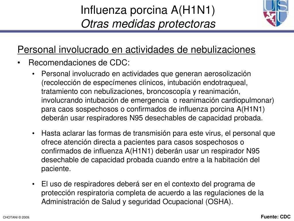 Personal involucrado en actividades de nebulizaciones