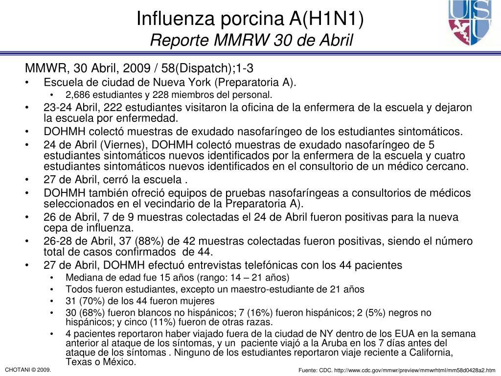 MMWR, 30 Abril, 2009 / 58(Dispatch);1-3