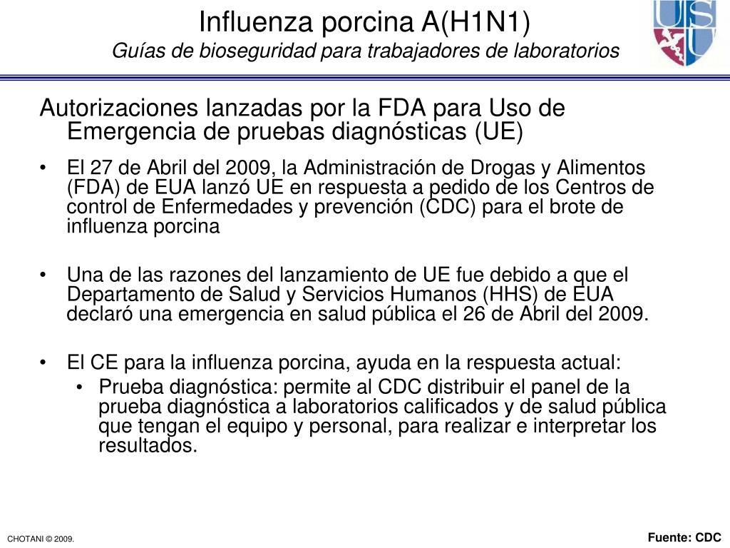 Autorizaciones lanzadas por la FDA para Uso de Emergencia de pruebas diagnósticas (UE)