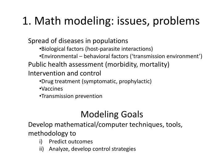1 math modeling issues problems