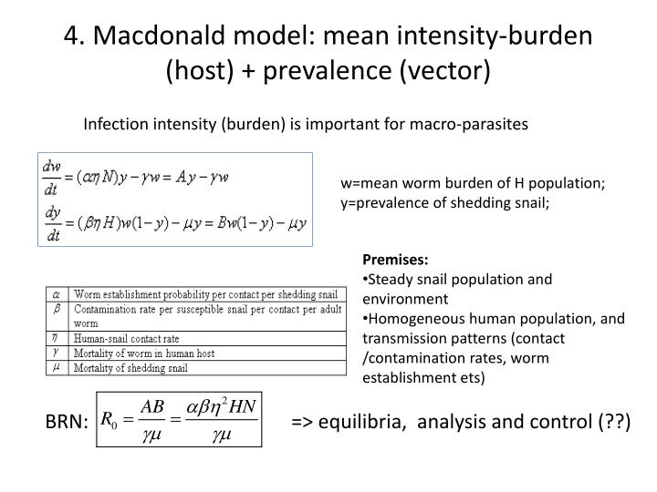 4. Macdonald model: mean intensity-burden (host) + prevalence (vector)