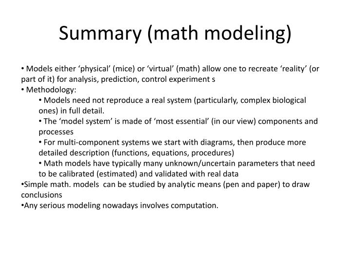Summary (math modeling)