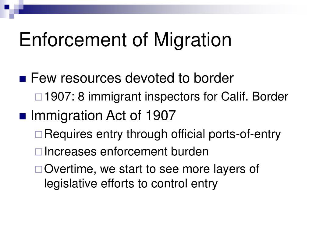 Enforcement of Migration