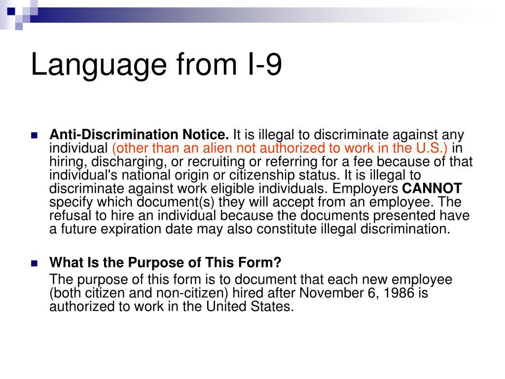 Language from I-9