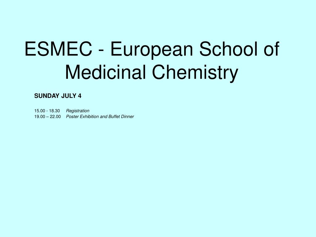 esmec european school of medicinal chemistry l.