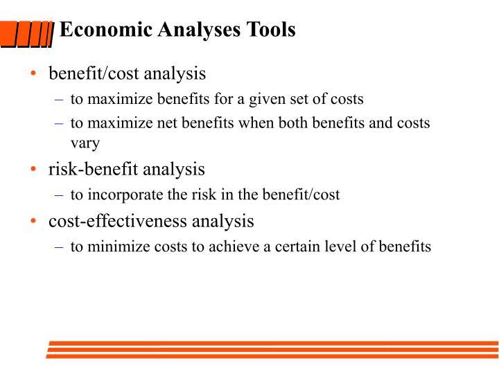 Economic analyses tools
