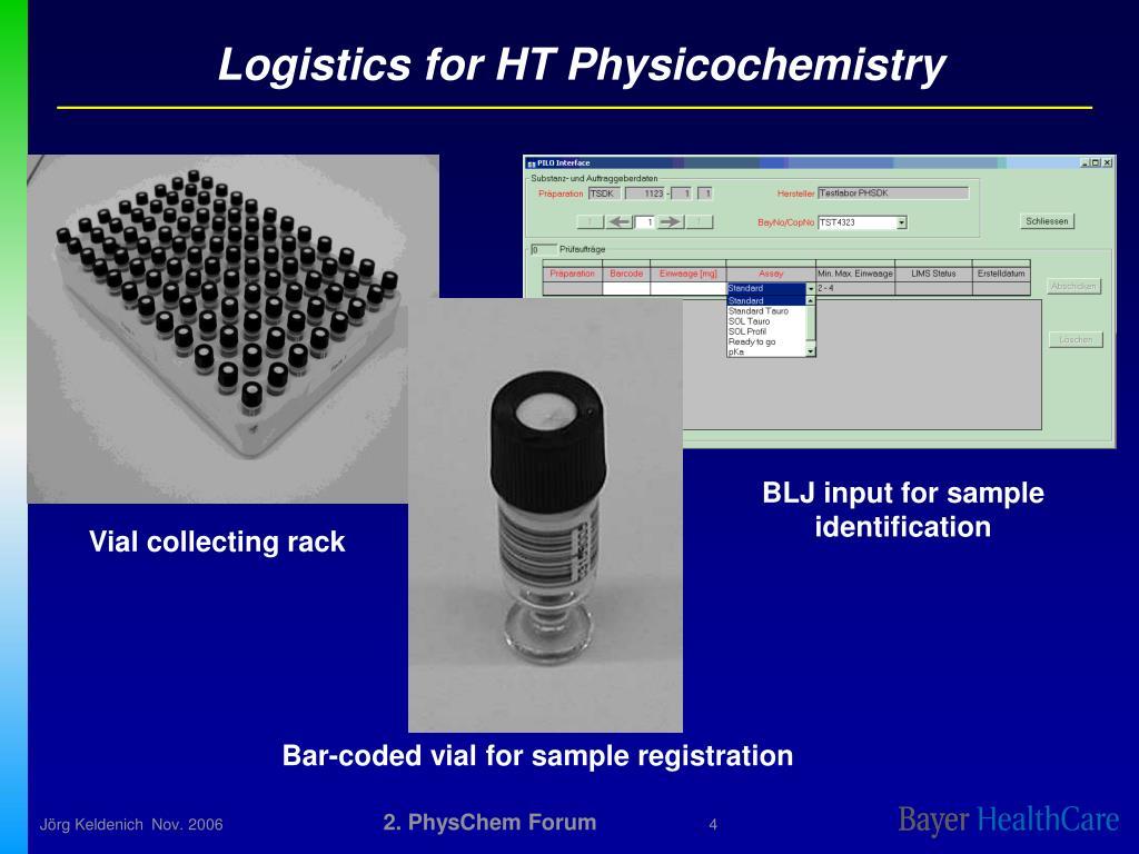 Logistics for HT Physicochemistry