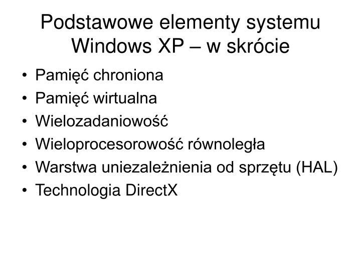 Podstawowe elementy systemu Windows XP – w skrócie