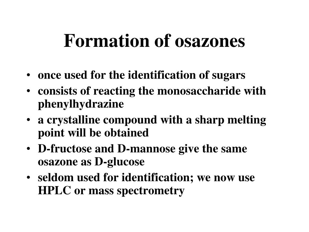 Formation of osazones