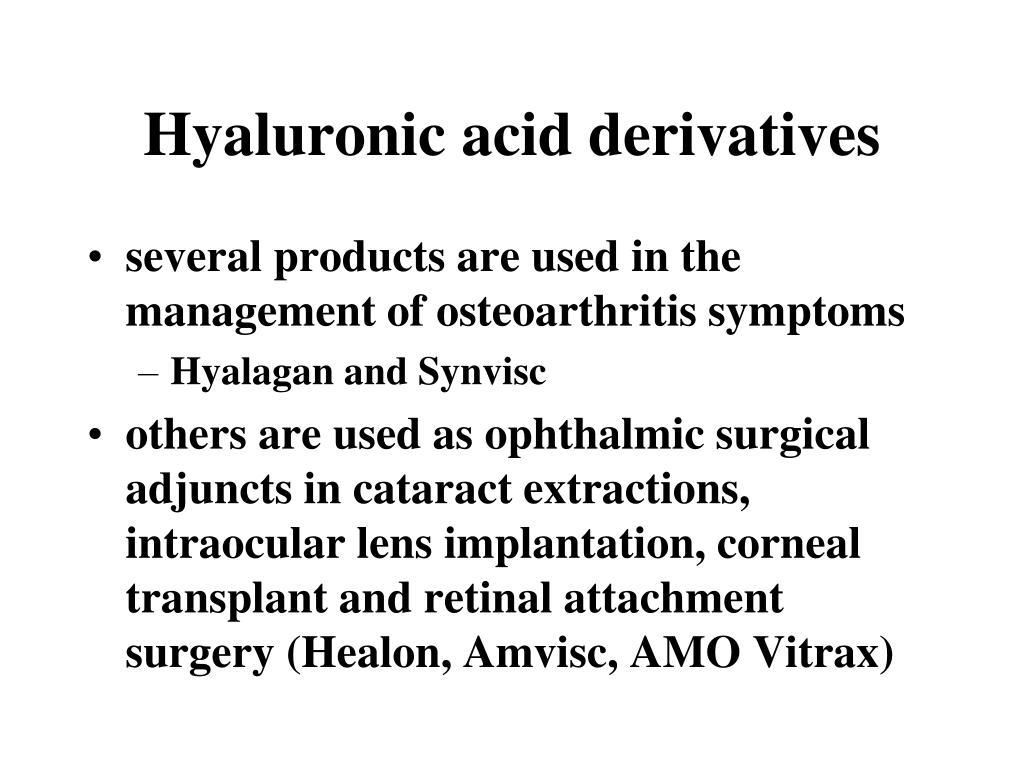 Hyaluronic acid derivatives