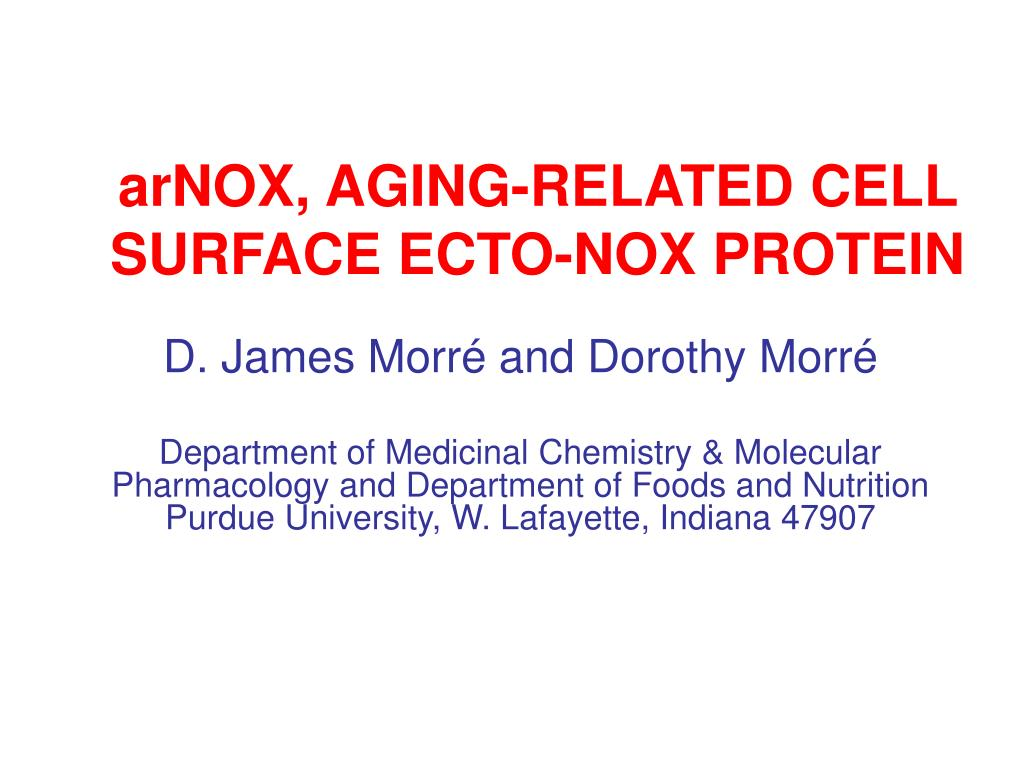 arnox aging related cell surface ecto nox protein l.