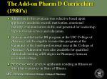 the add on pharm d curriculum 1980 s