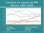 cambios en causas de mm m xico 1990 2008