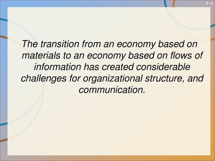 The transition from an economy based on materials to an economy based on flows of information has created considerable challenges for organizational structure, and communication.