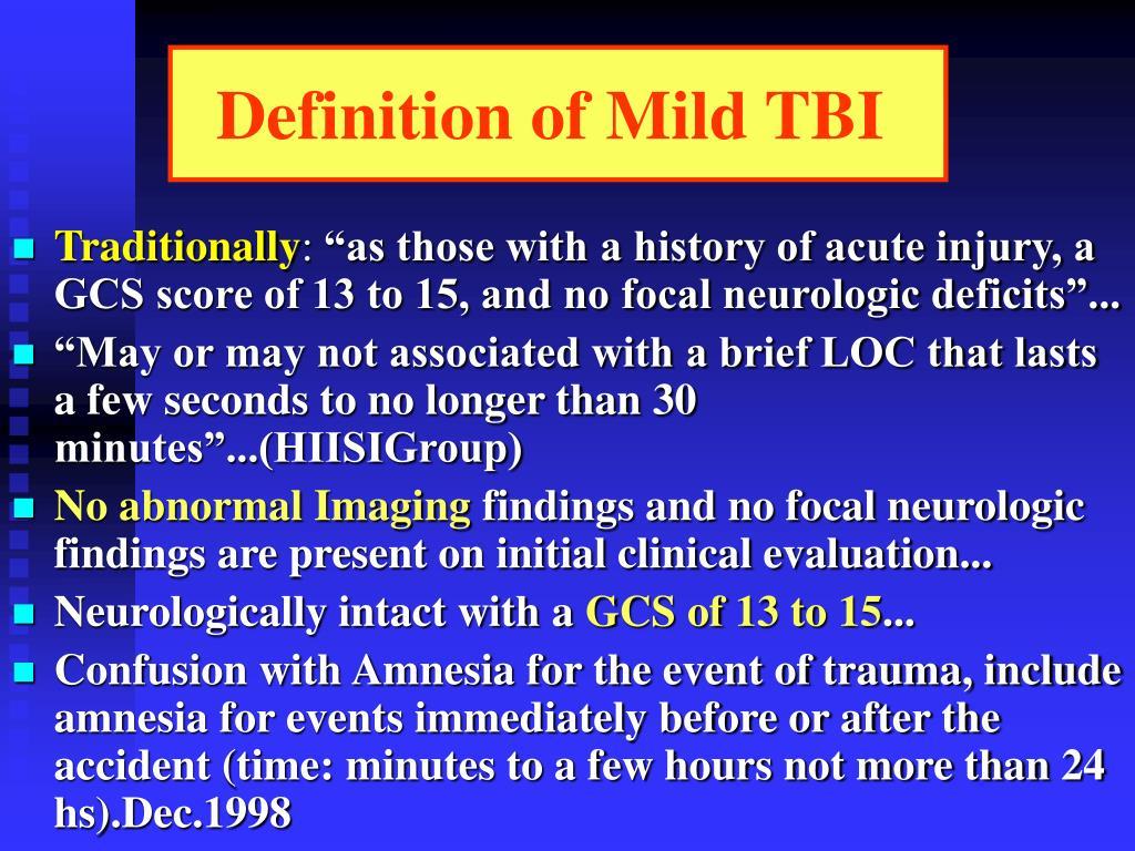 Definition of Mild TBI